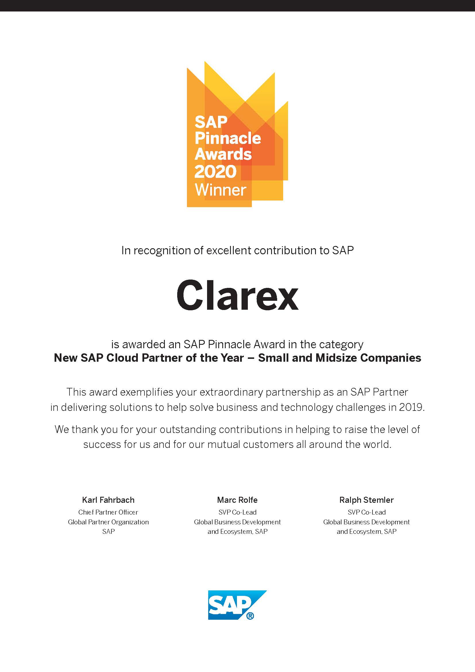 SAP_Pinnacle_Certificate_2020_Clarex